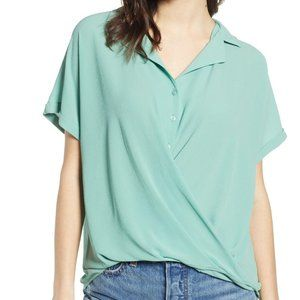 All in Favor green gathered front button top XS